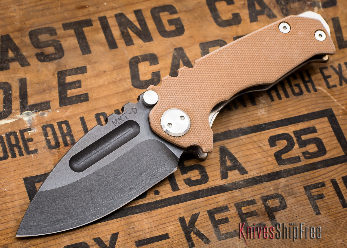 Medford Knife & Tool: Micro Praetorian G - Coyote G-10 / Flamed Ti - Tumbled Oxide Finish - 062912
