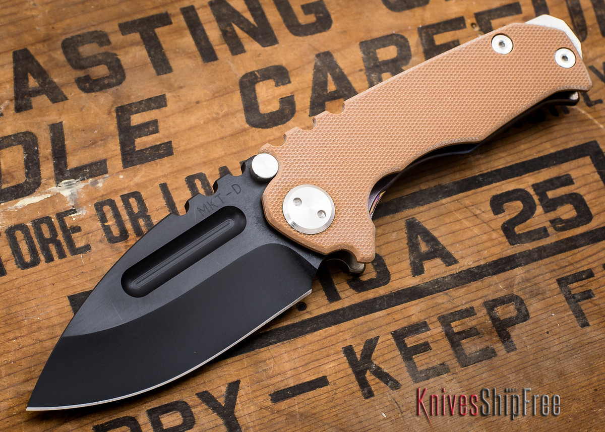 Medford Knife & Tool: Micro Praetorian G - Coyote G-10 / Flamed Ti - Black PVD - 062903 primary image