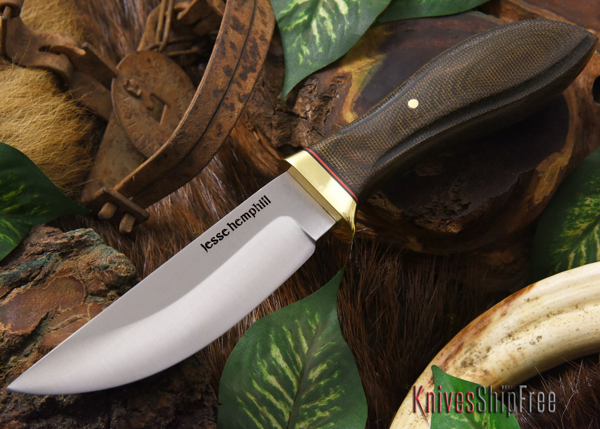Jesse Hemphill Knives: DeKalb Series - Point Rock - Green Canvas Micarta primary image