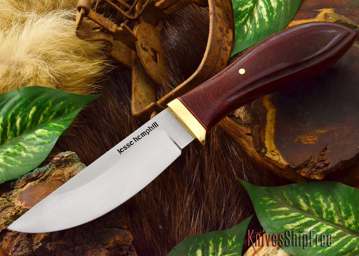 Jesse Hemphill Knives: DeKalb Series - Point Rock - Maroon Linen Micarta primary image