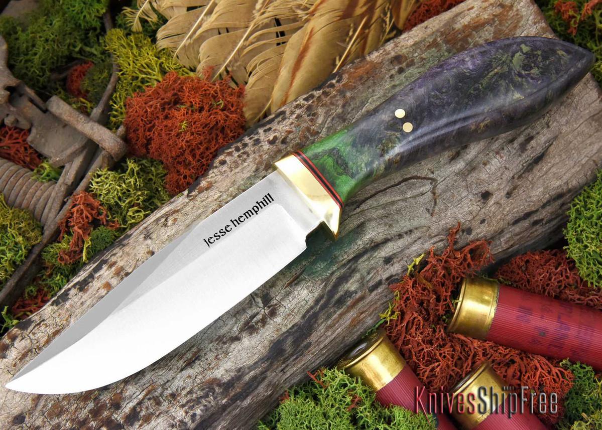 Jesse Hemphill Knives: DeKalb Series - Town Creek - Green & Purple Elder Burl primary image