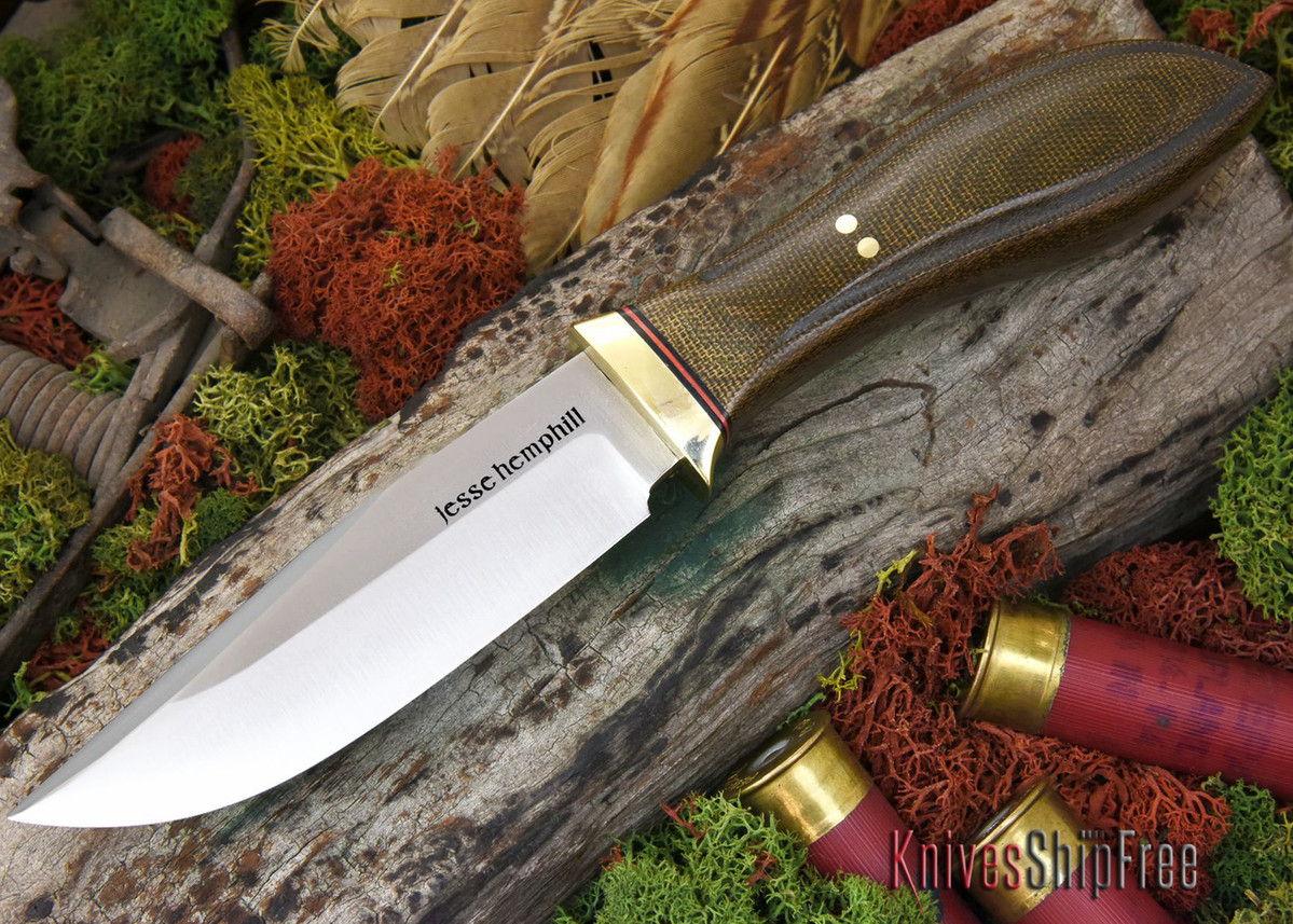 Jesse Hemphill Knives: DeKalb Series - Town Creek - Green Canvas Micarta primary image