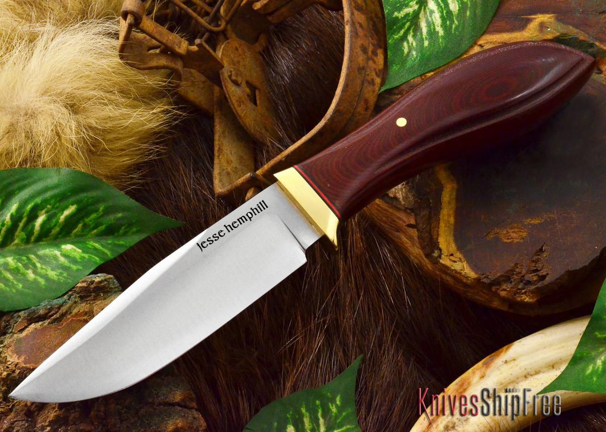 Jesse Hemphill Knives: DeKalb Series - Town Creek - Maroon Linen Micarta primary image