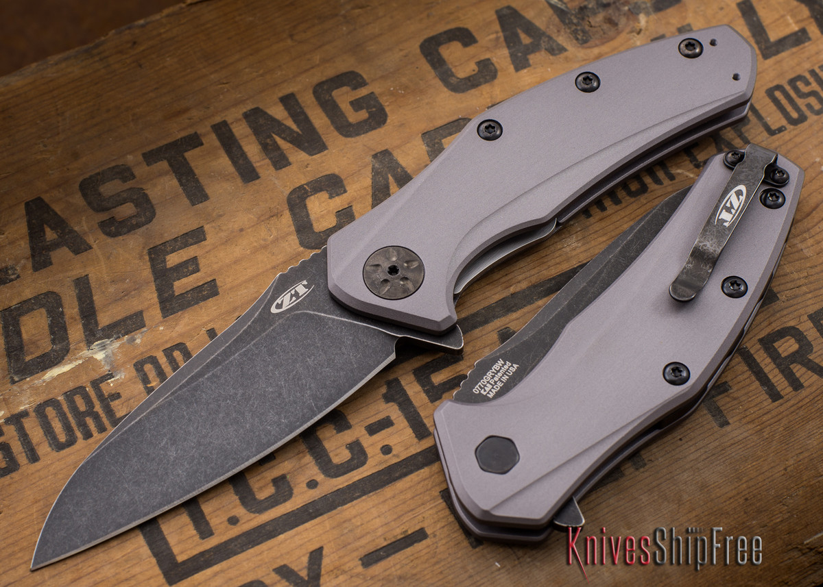 Zero Tolerance: ZT0770GRYBW - Assisted - Grey Aluminum - Blackwash Finish primary image