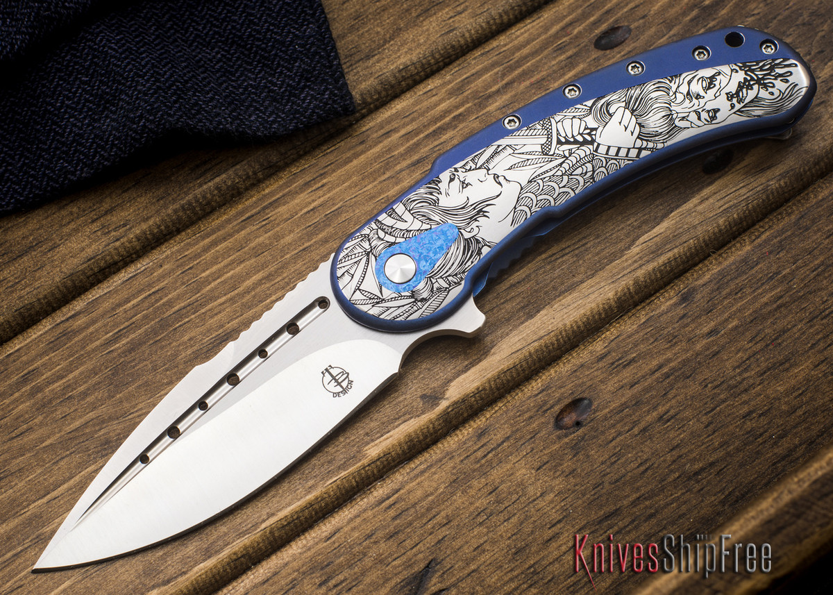 Todd Begg Knives: Custom Bodega - Dragon Lady Engraving - Blue Titanium primary image