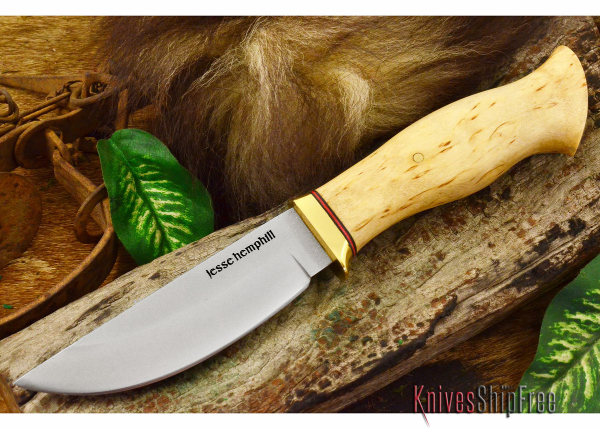 Jesse Hemphill Knives: DeKalb Series - Point Rock - Curly Birch primary image