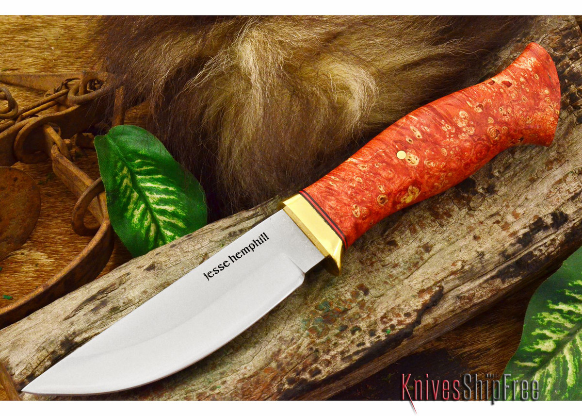 Jesse Hemphill Knives: DeKalb Series - Point Rock - Red & Gold Box Elder Burl primary image