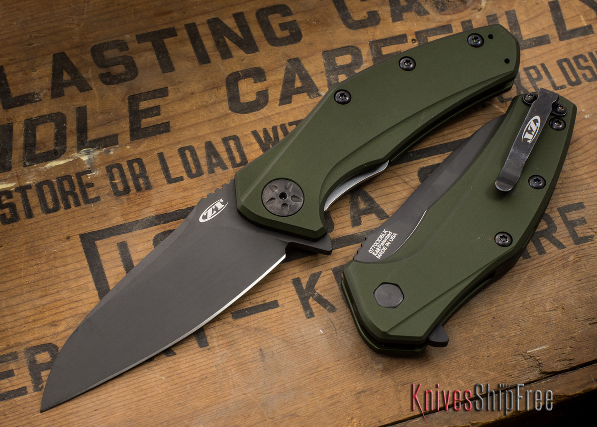 Zero Tolerance: 0770ODBLK - Assisted - OD Green Aluminum - CPM S35VN - Black DLC Finish primary image