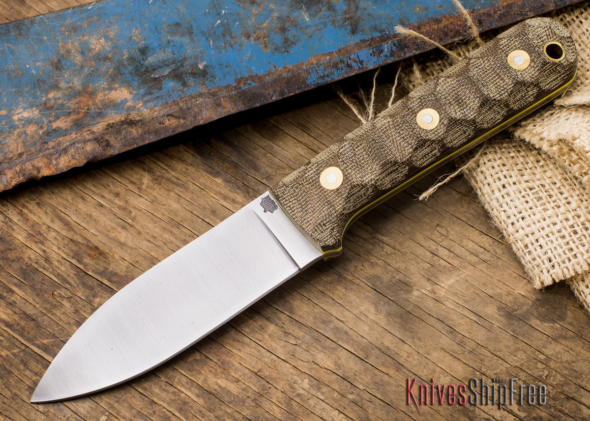 L.T. Wright Knives: Genesis - Flat Grind - CPM-3V Steel - Mountain Two-Tone Green Micarta - Yellow Liners primary image