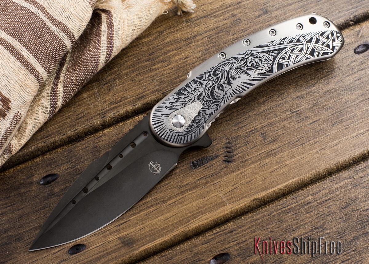 Todd Begg Knives: Custom Bodega - Norse Engraving - Satin Silver Titanium primary image