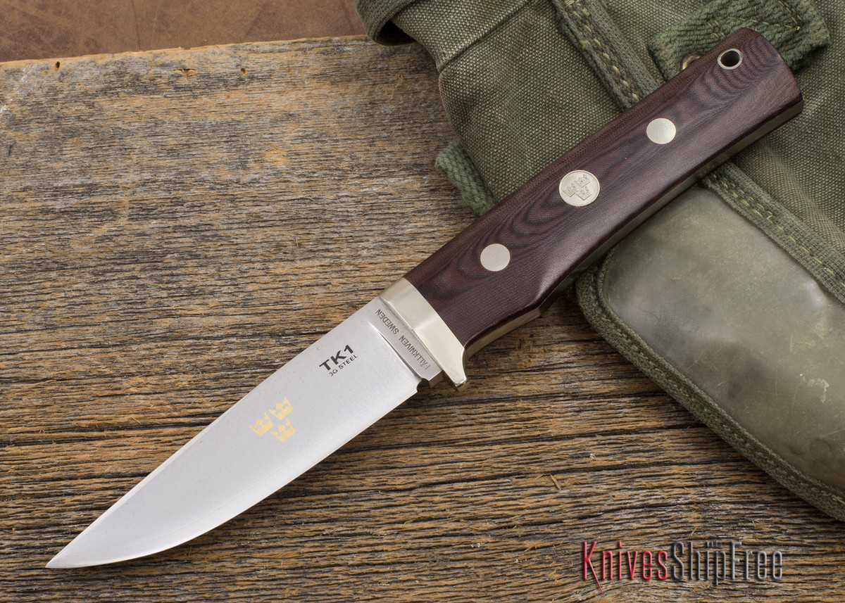 Fallkniven: TK1 - Tre Kroner - Maroon Micarta - 3G Steel - Leather Sheath primary image