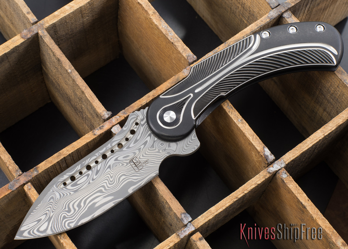 Todd Begg Knives: Steelcraft Series - Field Marshall - Black & Silver Titanium - Draupner Damasteel - E primary image