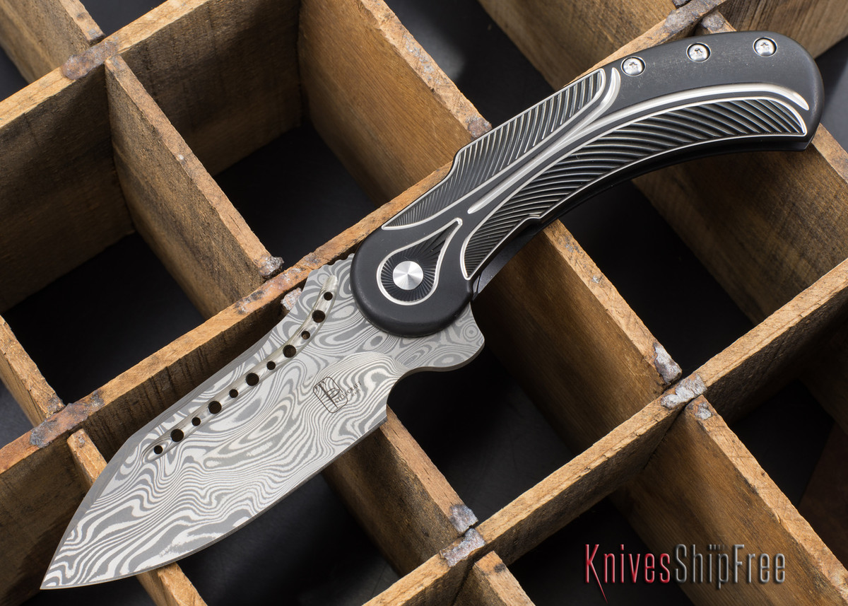 Todd Begg Knives: Steelcraft Series - Field Marshall - Black & Silver Titanium - Draupner Damasteel - F primary image
