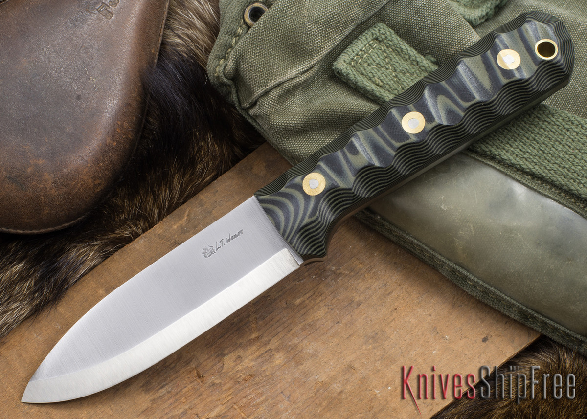 L.T. Wright Knives: Genesis - Scandi Grind - CPM 3V - Mountain Camo G-10 primary image