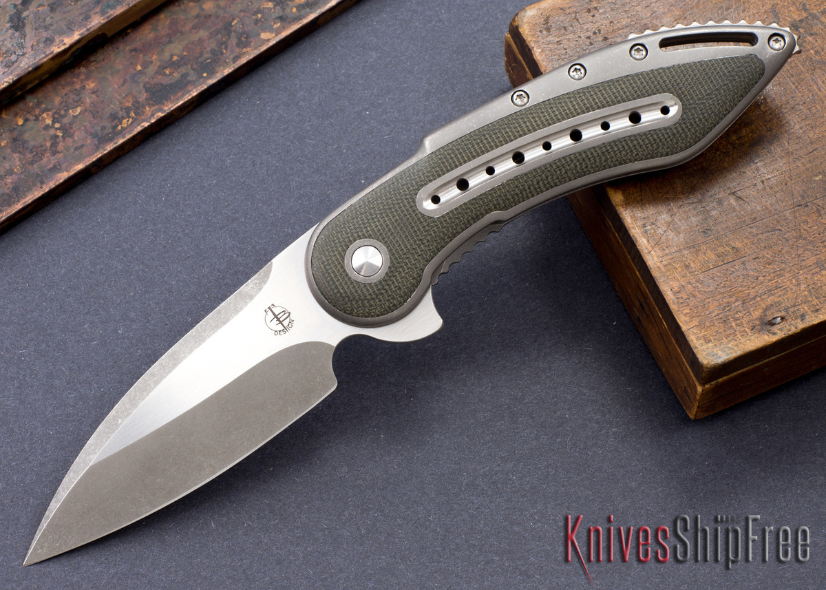Todd Begg Knives: Custom Glimpse 6.0 - Green Canvas Micarta Inlay - Long Swedge Grind - 120907 primary image