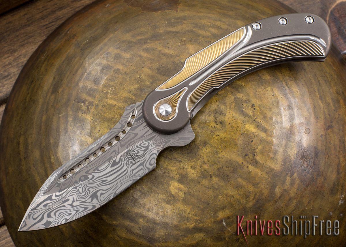 Todd Begg Knives: Steelcraft Series - Field Marshall - Bronze, Gold, & Silver Titanium - Draupner Damasteel - E primary image