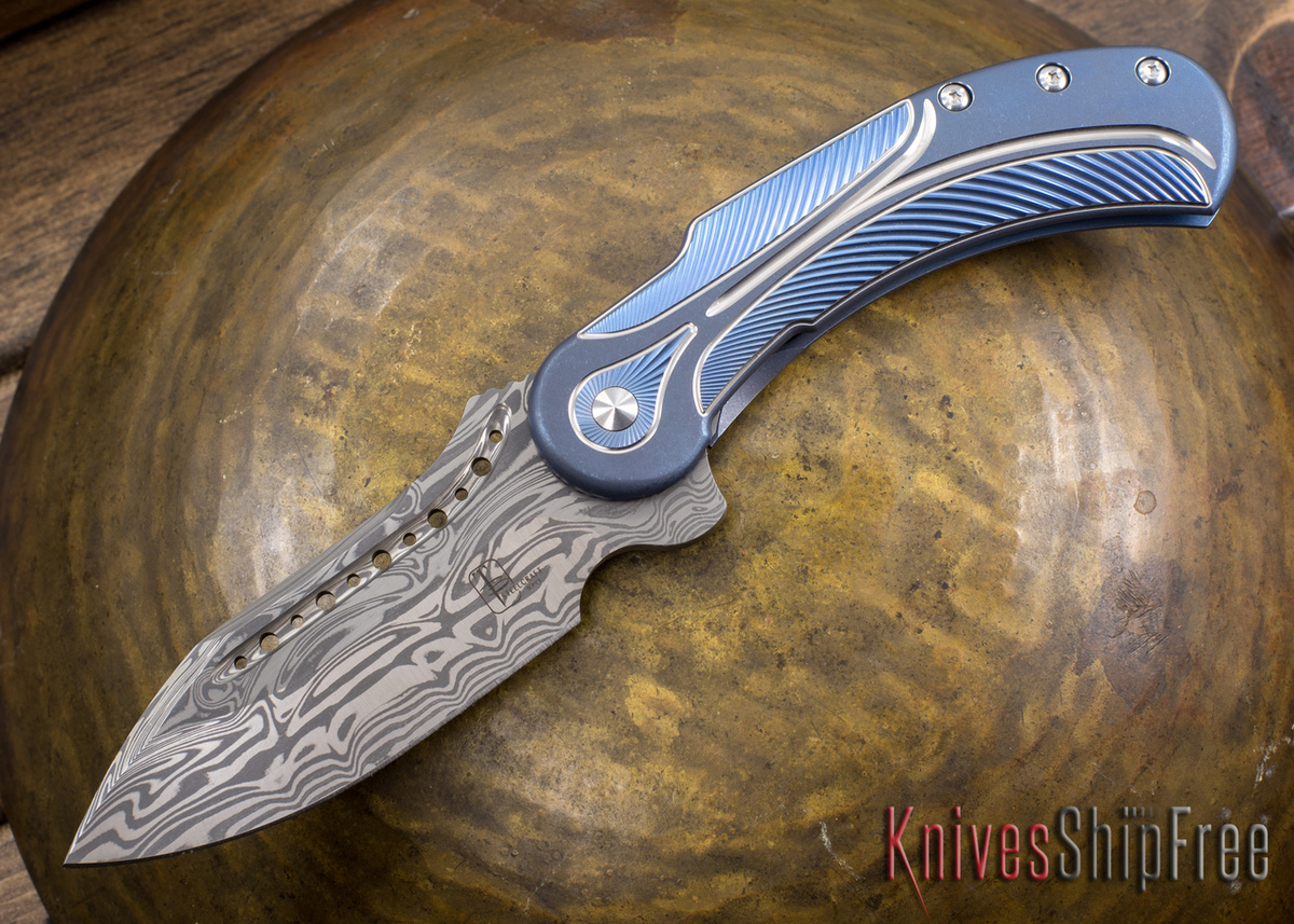 Todd Begg Knives: Steelcraft Series - Field Marshall - Blue & Silver Titanium - Draupner Damasteel - CC primary image