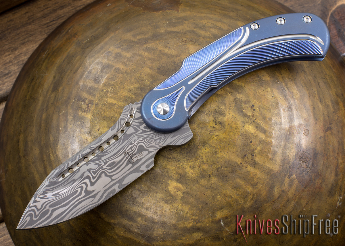 Todd Begg Knives: Steelcraft Series - Field Marshall - Blue & Silver Titanium - Draupner Damasteel - EE primary image