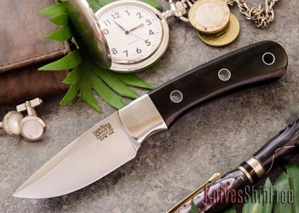 Bark River Knives: Essential - CPM-154 - Black Canvas Micarta - Hollow Pins