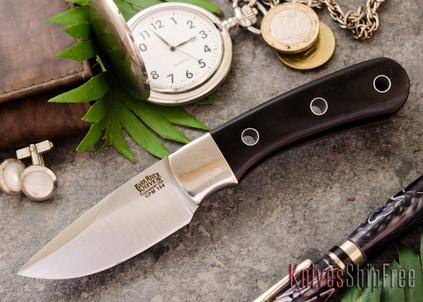 Bark River Knives: Essential - CPM-154 - Black Canvas Micarta - Orange Liners - Hollow Pins