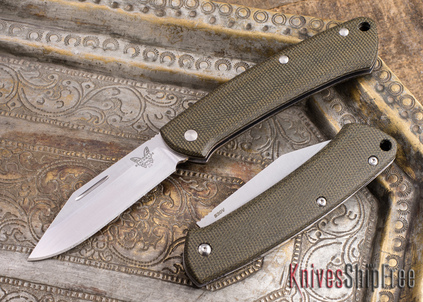 Benchmade Knives: 318 Proper - Slipjoint - Green Canvas Micarta - Clip Point