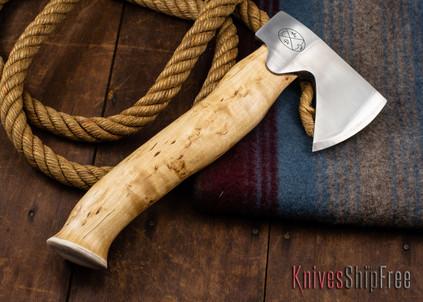 "Karesuando Kniven: ""Unna Aksu"" Hunter's Hatchet - Curly Birch - Stainless Steel - 326"