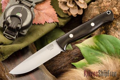 Bark River Knives: Gunny Hunter LT - Elmax - Black Canvas Micarta