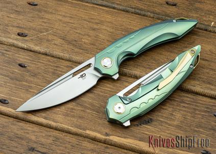 Bestech Knives: Ornetta - Green Titanium Framelock - Bohler M390