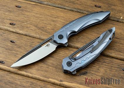 Bestech Knives: Ornetta - Blue Titanium Framelock - Bohler M390 - Two Tone Finish