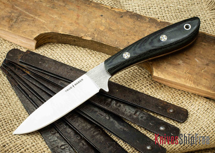 True Saber Knives: Chippewa - Flat Ground CPM-S35Vn - Black Canvas Micarta - Red Liners - Mosaic Pins