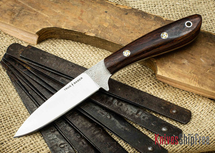 True Saber Knives: Chippewa - Flat Ground CPM-S35Vn - Cocobolo - Black Liners - Mosaic Pins