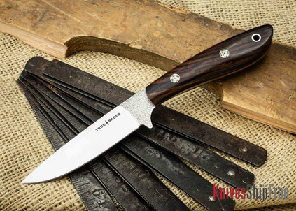 True Saber Knives: Chippewa - Flat Ground CPM-S35Vn - Cocobolo - Red Liners - Mosaic Pins