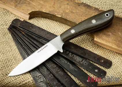 True Saber Knives: Chippewa - Flat Ground CPM-S35Vn - Green Canvas Micarta - Red Liners - Mosaic Pins