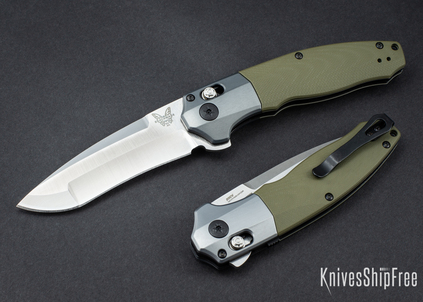 Benchmade Knives: 496 Vector - OD Green G-10 - White Liners - CPM 20CV - AXIS Assist Flipper
