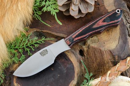 Bark River Knives: Mini Canadian - CPM 3V - Red & Black Linen Micarta - Black Pins
