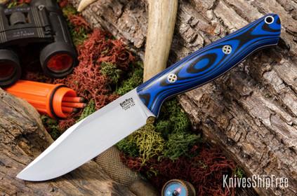 Bark River Knives: Gunny Sidekick CPM-154 - Blue & Black G-10 - White Liners - Mosaic Pins