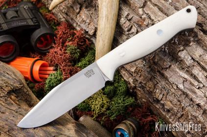 Bark River Knives: Gunny Sidekick CPM-154 - White Linen Micarta - Black & White Liners