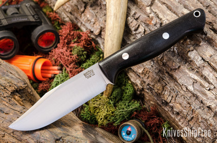 Bark River Knives: Gunny Sidekick CPM-154 - Black Canvas Micarta