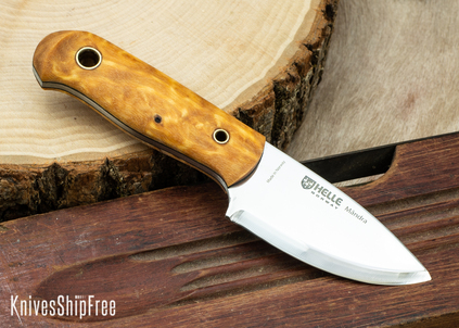 """Helle Mandra - Les Stroud Design - 2.7"""" Compact Survival Knife - Curly Birch 11"""