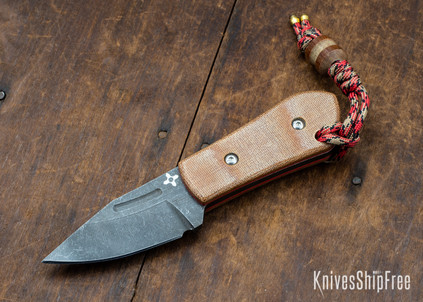 Joe Loui Knives: Chico #004 - Natural Micarta - Orange Liners