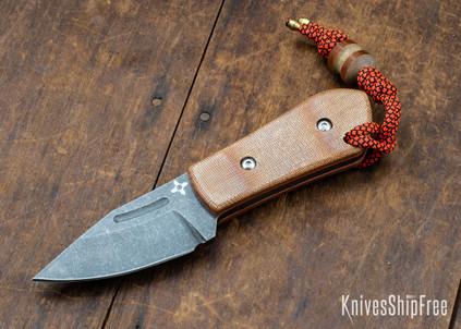 Joe Loui Knives: Chico #012 - Natural Micarta - Orange Liners
