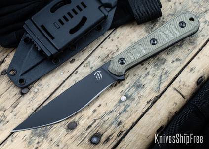 Bastinelli Knives: Silence Slim - N690co - Black Idroglider Finish - OD Green Micarta