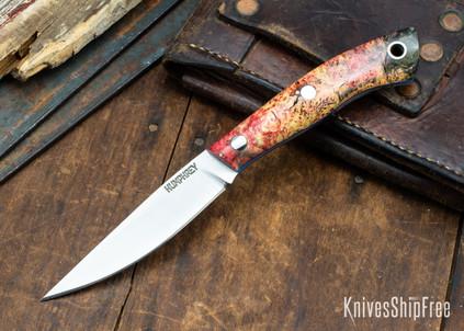 Lon Humphrey Knives: Bird & Trout AEB-L - Red & Black Box Elder Burl - Blue Liners - 092853
