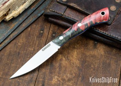 Lon Humphrey Knives: Bird & Trout AEB-L - Red & Black Box Elder Burl - Blue Liners - 092857