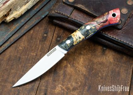 Lon Humphrey Knives: Bird & Trout AEB-L - Red & Black Box Elder Burl - Blue Liners - 092858