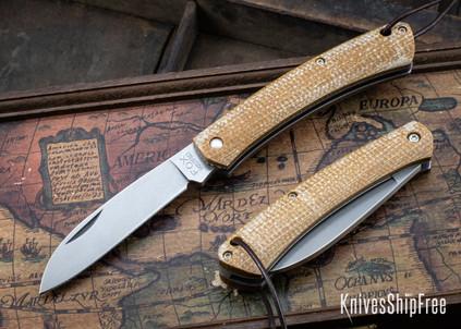 Fox Knives: Nauta Slipjoint - Natural Canvas Micarta - 420 Stainless Steel