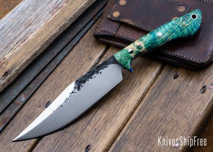 Lon Humphrey Knives: Hickok - Forged 52100 - Blue & Green Box Elder Burl - Blue Liners - 120228
