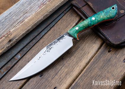 Lon Humphrey Knives: Hickok - Forged 52100 - Blue & Green Box Elder Burl - Orange Liners - 120235