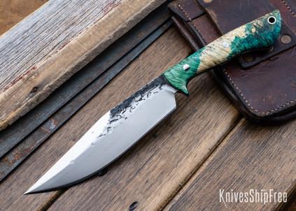 Lon Humphrey Knives: Hickok - Forged 52100 - Green & Black Box Elder Burl - Black Liners - 120246