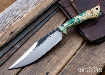 Lon Humphrey Knives: Hickok - Forged 52100 - Green & Black Box Elder Burl - Yellow Liners - 120248